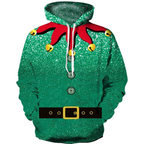Funny Button Belt Design Print Pullover Christmas Hoodie Sweatshirt Jacket