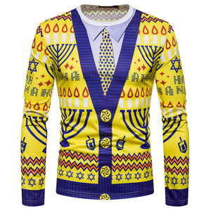 Men's Christmas Fake Two Piece Printed Fashion Long Sleeve T-Shirt