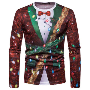 Men Christmas Fake Two-Piece Printed Ugly Fashion Long Sleeve T-Shirt Top