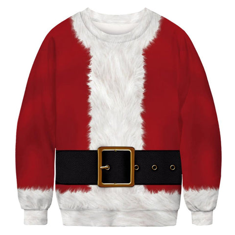 Funny 3D Faux Belt Print Ugly Christmas Print Long Sleeve Sweater Sweatshirt
