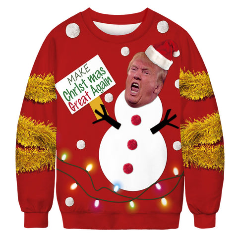 Donald Trump Snowman Print Christmas Funny Long Sleeve Sweatshirt Shirts Sweater Tops