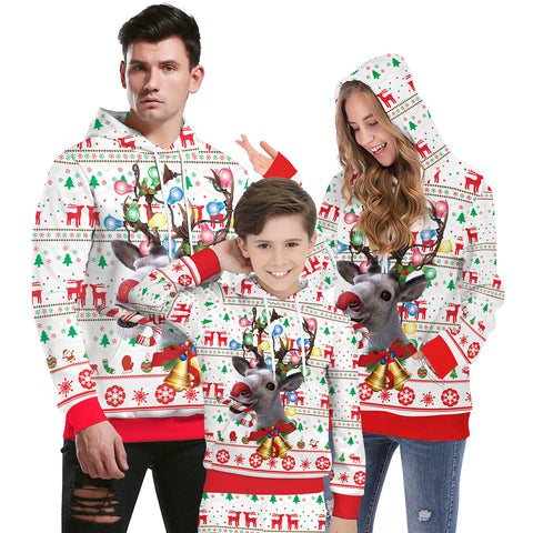 Christmas Print Costume Long-sleeved Hoodies Parent-child Family Suits