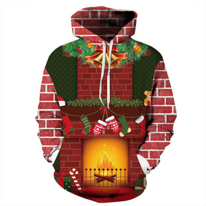 3D Fireplace Printed Funny Christmas Hooded Sweater Unisex Long Sleeve Hoodie Sweatshirt For Men Women