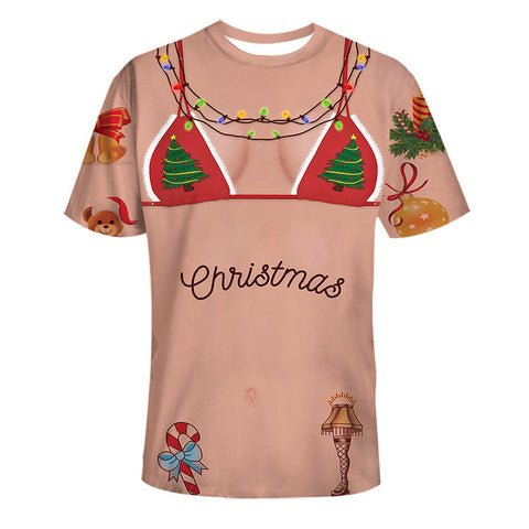 Fake Bikini Print Ugly Christmas T-shirt