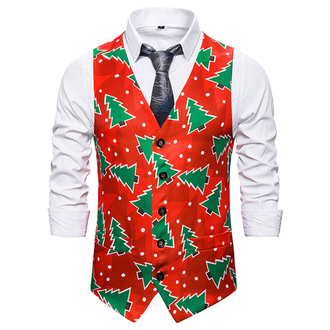 Men Christmas Tree Printed Double Breasted Vest Christmas Waistcoat