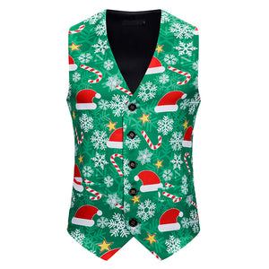 Men 3D Christmas Hat Prints Double Breasted Vest Christmas Waistcoat