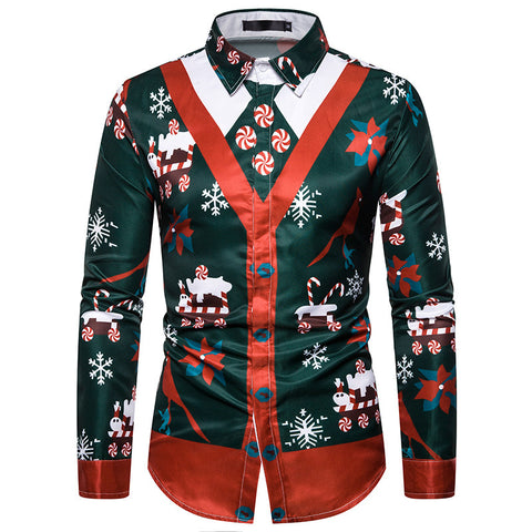 Faux Real Men 3D Photo-Realistic Funny Ugly Christmas Long Sleeve Shirt Sweatshirt Top
