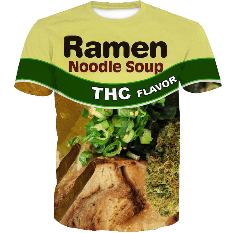 3D Ramen  Print Fashion Funny Casual Short Sleeve Men T-Shirt