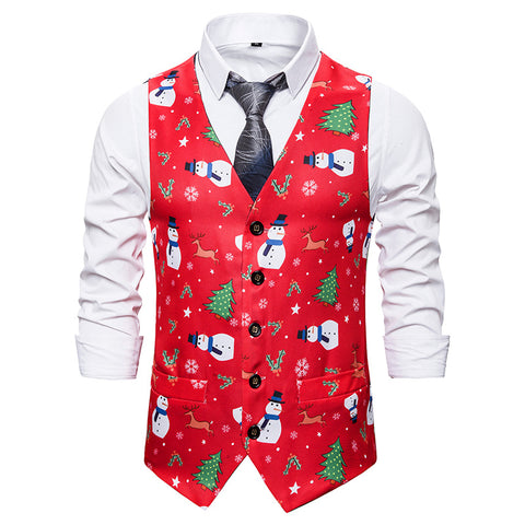 Men Christmas Snowman Printed Double Breasted Vest Christmas Waistcoat