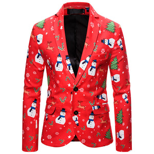 Men Snowman Ugly Christmas Blazer Suit Funny Christmas Santa Claus Printed Party Suits Holiday Jackets Coat Outerwear