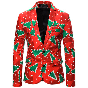 Men Ugly Christmas Blazer Suit Funny Christmas Santa Claus Printed Party Suits Holiday Jackets Coat Outerwear