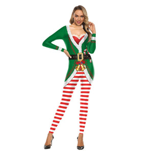 Women Funny Christmas Bodycon Stretch Jumpsuits Christmas Costume Pajamas Onesie