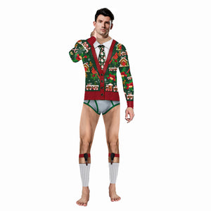 Faux Real Men's 3D Photo-Realistic Ugly Christmas Long Sleeve and Pant Jumpsuit Pajamas Onesie