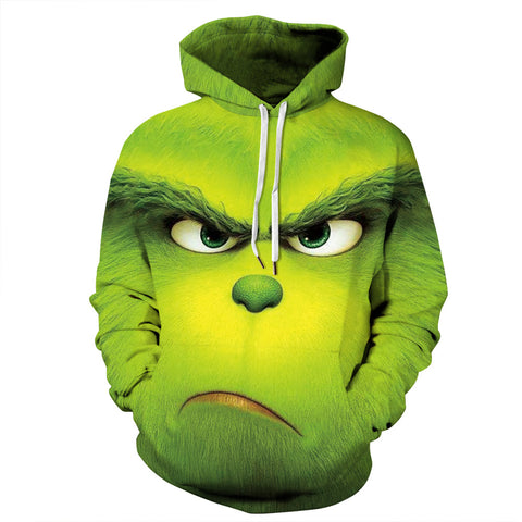The Grinch 3D Christmas Green Pullover Hoodie Casual Hooded Sweatshirt Jacket Coat