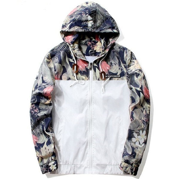 Floral Printed Patchwork Hooded Thin Jacket