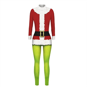 3D Faux Suit Funny Ugly Christmas Tight Stretch Jumpsuits Pajamas Onesies
