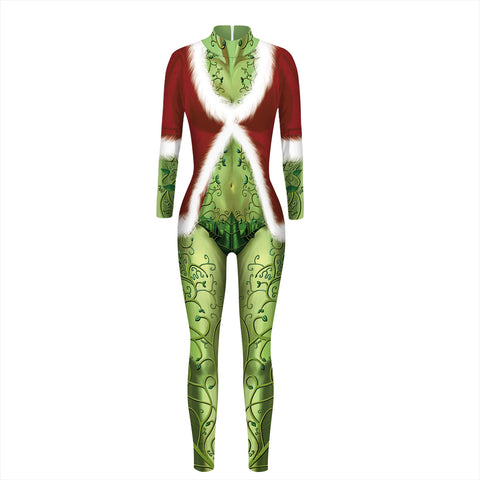 3D Vine Funny Ugly Christmas Tight Stretch Jumpsuits Pajamas Onesies