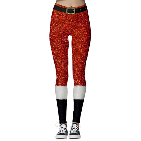 Christmas Print Stretch Tights Casual Sweatpants Leggings Yoga Pants