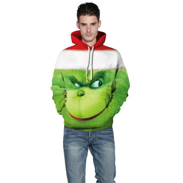 The Grinch Print Christmas Hoodie Casual Sweatshirt Grinch Costume