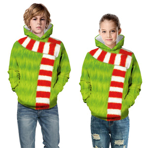 The Grinch Kid Christmas Children Hooded Sweater Long Sleeve Hoodies Sweatshirt Jacket Coat