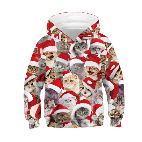 Cat Print Kid Christmas Children Hooded Sweater Long Sleeve Hoodies Sweatshirt Jacket For Boys Girls