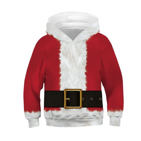 Fake Belt Print Kid Christmas Children Hooded Sweater Long Sleeve Hoodies Sweatshirts Jacket For Boys Girls