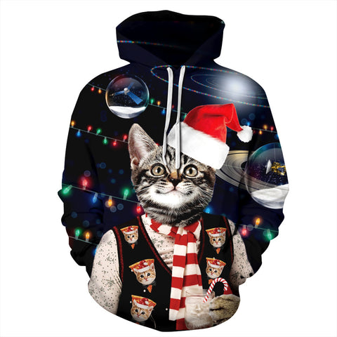 Cat Print Funny Christmas Hoodie Long Sleeve Casual Sweatshirt Jacket