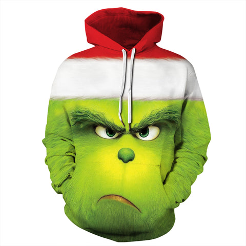 The Grinch Print Christmas Hoodie Casual Ugly Sweatshirt Jacket Coat Outerwear For Men Women