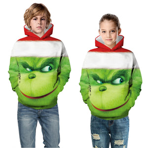 The Grinch Kid Christmas Children Hooded Sweater Long Sleeve Hoodies Sweatshirt Jacket