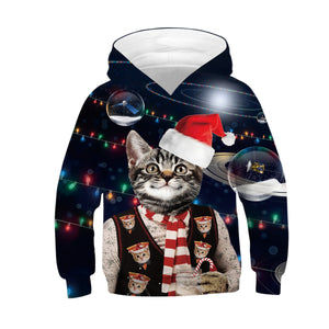 Cute Cat Print Kid Christmas Children Hooded Sweater Long Sleeve Hoodies Sweatshirts Jackets For Boys Girls