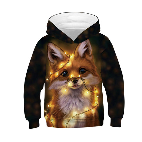 Fox Print Kid Christmas Children Hooded Sweater Long Sleeve Hoodies Sweatshirt Jacket For Boys Girls