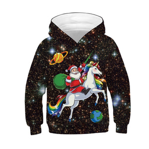 Santa Claus Unicorn Print Kid Christmas Children Hooded Sweater Long Sleeve Hoodies Sweatshirt Jacket For Boys Girls