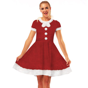 Christmas Button Print Xmas Dresses Casual Flared Midi Dresses