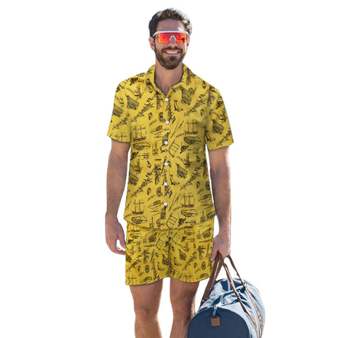 3D Sea Boat Printed Men Fashion Button Short Sleeve Hawaii Shirts and Shorts Two Piece Suits Beach Outfit