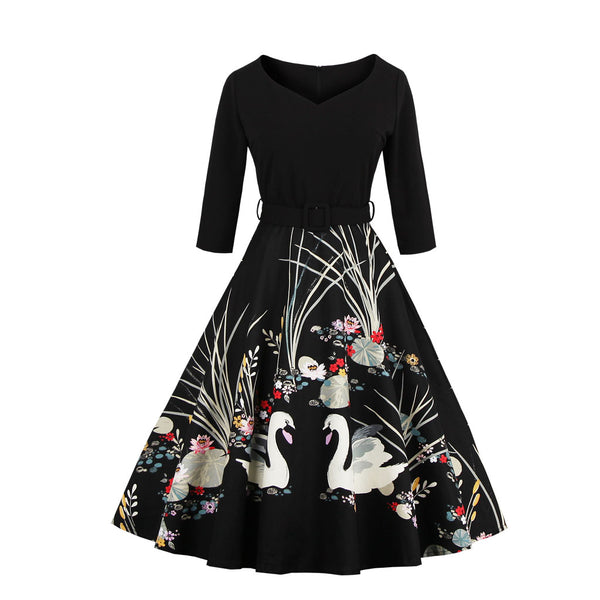 Swan Print V-neck Vintage Dress (S-4XL)