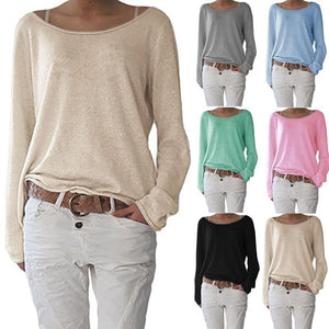Fashion Long Sleeve Cotton Pure Color  T Shirts Blouse Tops