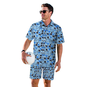 3D Shark Printed Men Fashion Button Short Sleeve Hawaii Shirts and Shorts Two Piece Suits Beach Outfit