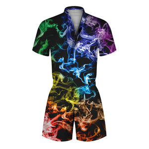 3D Smoke Printed Men Romper Fashion Funny One Piece Zip Short Sleeve Overall Onesie with Pocket