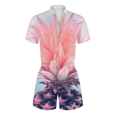 3D Pink Pineapple Printed Men Beach Romper Fashion Funny Zip Short Sleeve Overall Onesie with Pocket