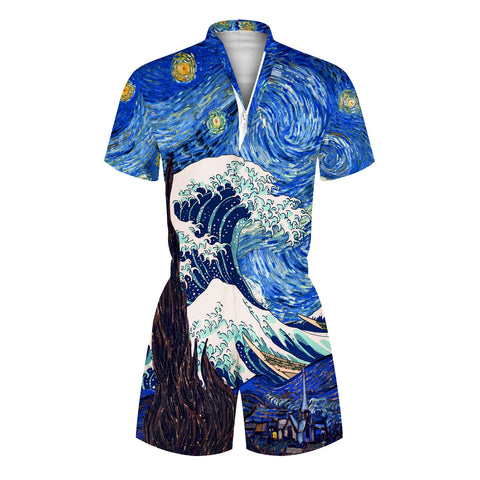 3D Oil Painting Printed Men Romper Fashion One Piece Zip Short Sleeve Overall Onesie with Pocket