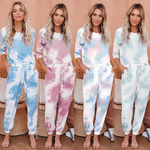 Tie Dye Printed Women Casual Long Sleeve T- shirt Tops+ Pants Two Piece Set Outfit