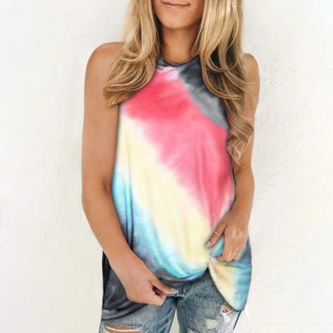 Tie Dye Printed Women Loose Casual Sleeveless Knotted T-shirt Tank Top