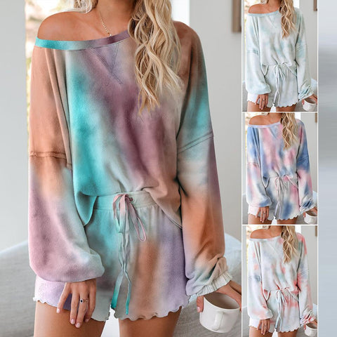 Tie Dye Knit Printed Two Piece Set Long Sleeves Top + Short Home Wear Pajamas Set