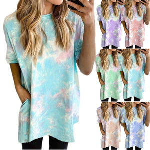 Women Tie Dye Printed Fashion Casual Loose Short Sleeve Summer Dress