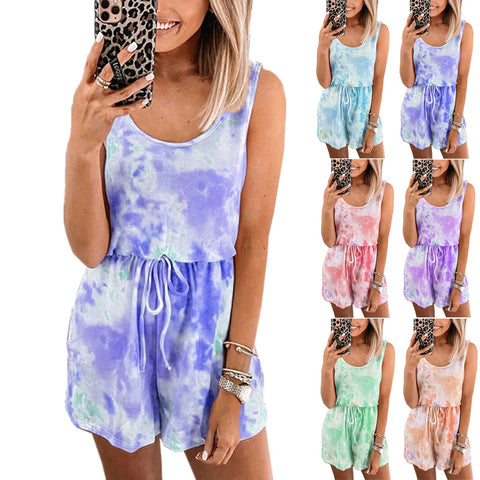 Women Tie Dye Printed Fashion Casual Vest Top Sleeveless Romper Jumpsuit