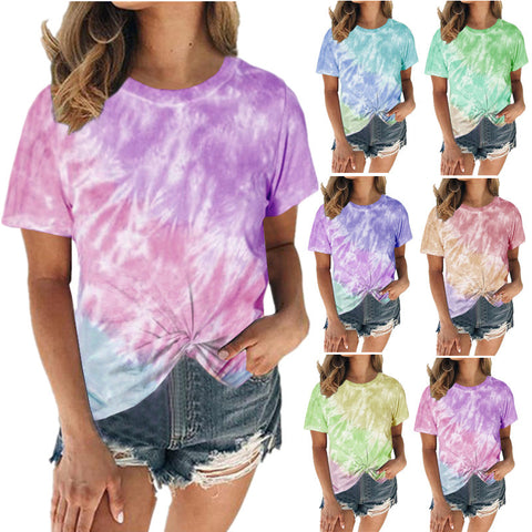 Women Tie Dye Printed Fashion Casual Knotted Short Sleeve Summer T-shirt Top
