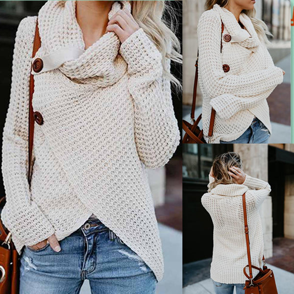 High-neck Long Sleeve Solid Cardigan Sweater