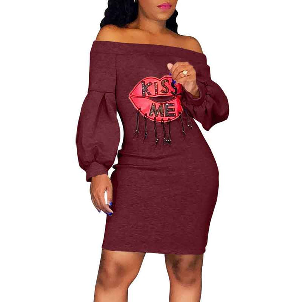 Sexy Off Shoulder Lip Letters Printed Puff Long Sleeve Bodycon Midi Dress