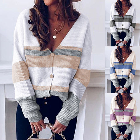 Women Fashion Color Block V-Neck Button Stripe Loose Long Sleeve Knitted Sweater Cardigan