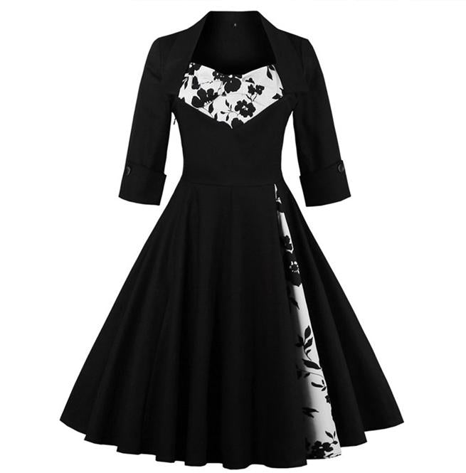 Hepburn Style Vintage Print Long Sleeve Dress(S-4XL)
